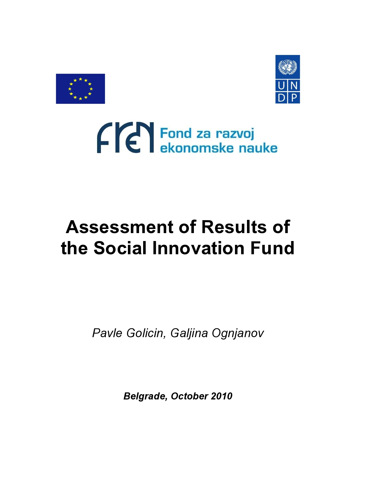 Assessment of Results of the Social Innovation Fund